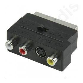 Αντάπτορας Scart αρσ. - 3x RCA θηλ. + 4-pin S-Video θηλ. με in/out διακόπτη.