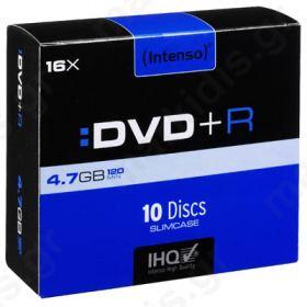 DVD+R INTENSO 4.7GB 16X SLIM CASE 10TEM