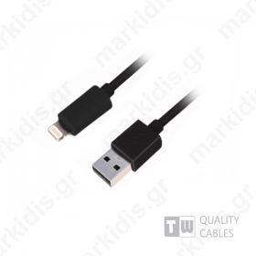 Καλώδιο USB data για iPhone5/iPad 1m μαύρο