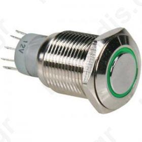 R1600G, Μπουτόν στρογγυλό μεταλλικό πρασινο (ON)-OFF Φ16ΜΜ DPST