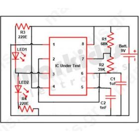 555 Timer IC Testing Simple Circuit: