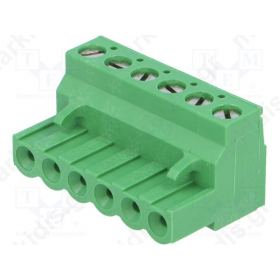 Pluggable terminal block plug female 5.08mm ways:6 15A green
