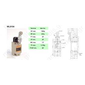 ΤΕΡΜΑΤΙΚΟΣ ΔΙΑΚΟΠΤΗΣ WL-5104,  R 38mm, metal roller 17,5mm; NO + NC; 10A