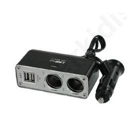 ADAPTOR ΑΝΑΠΤΗΡΑ ΑΥΤΟΚΙΝΗΤΟΥ 1 ΣΕ 2 ΜΕ 2 USB