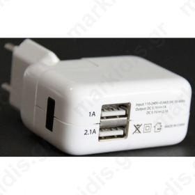 ΦΟΡΤΙΣΤΗΣ 220V ΣΕ 2 USB 5V/1A ΚΑΙ 5V/2,4A