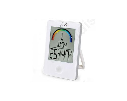 Ψηφιακό θερμόμετρο / υγρόμετρο εσωτερικού χώρου με ρολόι και έγχρωμη απεικόνιση