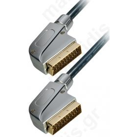 Scart σε Scart 21 pins όλα συνδεδεμένα 1.5μ ΜΕΤΑΛΛΙΚΟ ΕΠΙΧΡΥΣΟ