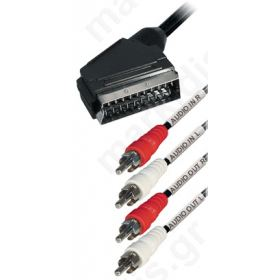 Scart αρσ. σε 4 RCA (2x Audio in + 2x Audio out) 3.0μ