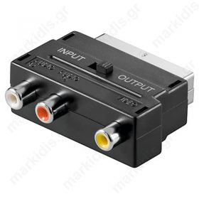 Adaptor Scart αρσ. σε 3 RCA θηλ. Με διακόπτη In/Out
