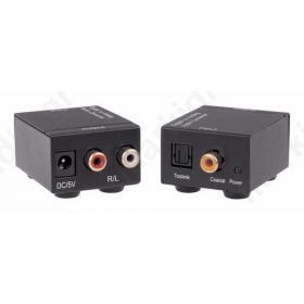 ANGA QA-C102 Μετατροπέας Ψηφιακού Ήχου Toslink ή Coaxial σε Stereo RCA (περιλαμβάνει τροφοδοτικό 5V/1A)