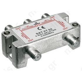 VT04 Splitter 4 Εξόδων 5-2450MHz Με διέλευση τάσης