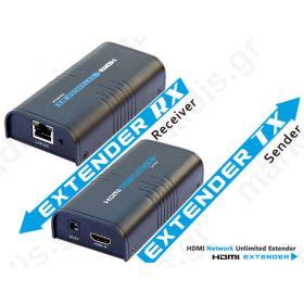 ANGA EXT120 HDMI Extender 120μ 1x UTP CAT5e/6 καλώδιο 1080P συμβατό με HDMI 1.3, HDCP 1.2