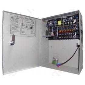 Σταθεροποιημένο τροφοδοτικό 12V / 5A / 60W, 9 εξόδων, Με δυνατότητα προσθήκης μπαταρίας 12V 7Ah, ANGA CP1209-5A-9-B