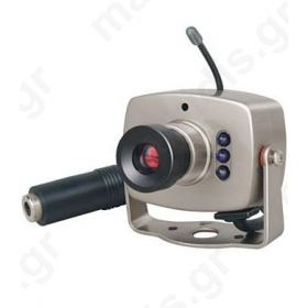 C02 1/4 Taiwan CCD, Φακός 3.6mm, 1 Lux / 0 Lux ( IR ON), F6.0, 420 Γραμμές, Με Ήχο, (Συχνότητα 2.472 MHz,