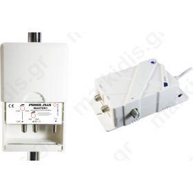 Ενισχυτής Ιστού Power Plus Master 1 Δύο εισόδων VHF 28dB/102dBμV, UHF 35dB/102dBμV με ενσωματωμένο φίλτρο 4G LTE