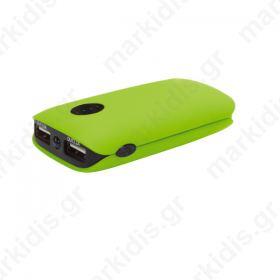 Φορητός Φορτιστής Platinet 5000mA   micro USB καλώδιο Power Bank πράσινο
