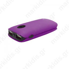 Φορητός Φορτιστής Platinet 5000mA   micro USB καλώδιο Power Bank μωβ