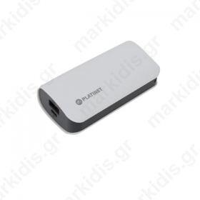Φορητός Φορτιστής Platinet δερμάτινος  5200mA   micro USB καλώδιο Power Bank άσπρο PMPB52LW