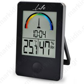 LIFE WES-100 Thermometer/hygrometer Black with clock