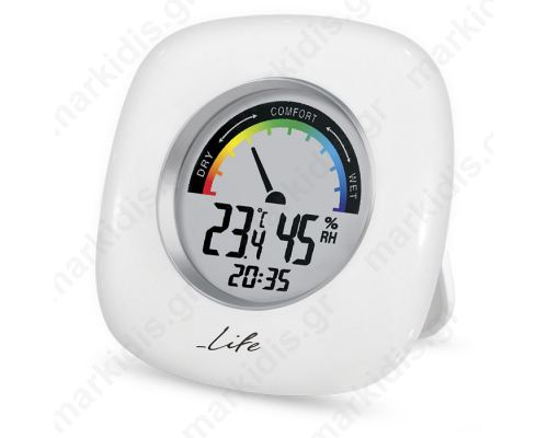 LIFE WES-103 Thermometer/hygrometer with clock, square white