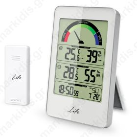 LIFE WES-203 Weather station with wireless outdoor sensor clock, white