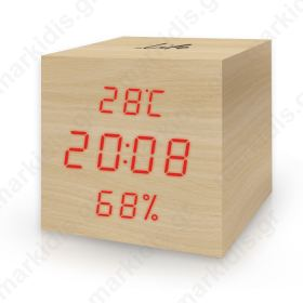 LIFE WES-105 Cube Wooden Thermometer/hygrometer with clock and alarm(natural red