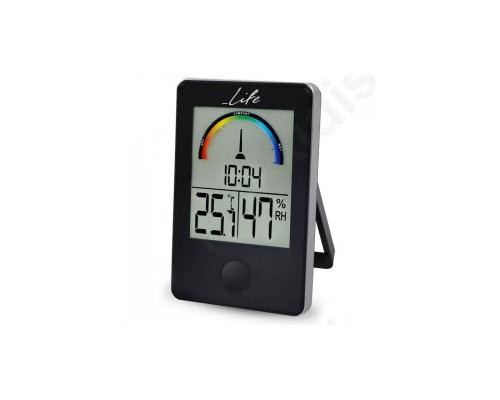 Ψηφιακό θερμόμετρο / υγρόμετρο εσωτερικού χώρου με ρολόι και έγχρωμη απεικόνιση επιπέδου υγρασίας,
