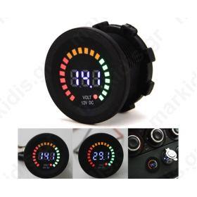 Digital car voltmeter, round