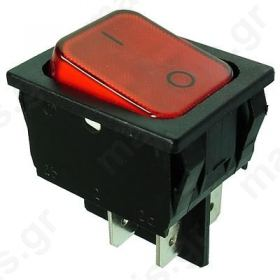 ROCKER DPST Pos: 2 OFF-ON 20A/250VAC red IP40